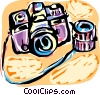 Camera and lens Vector Clip Art image