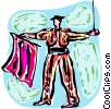 Matador with cape and sword Vector Clipart picture