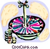 Roulette wheel and chips Vector Clip Art image