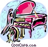 Pianist at grand piano Vector Clip Art image