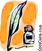 Vector Clipart graphic  of a Quill pen with ink well