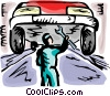 Auto Mechanic fixing car Vector Clipart picture