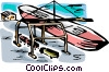 Vector Clip Art image  of a Ships Carrying Cargo and