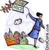 Businesswoman with book kite Vector Clip Art picture