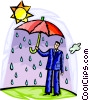 Businessman under umbrella of rain Vector Clipart picture