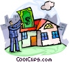 Man putting money into house Vector Clipart illustration