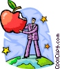 Accomplishment man taking bite of apple Vector Clipart illustration
