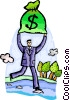 man crossing creek with bag of money Vector Clipart image