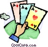 Hand with Playing Cards Vector Clipart image