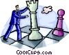 man playing with large chess pieces Vector Clip Art graphic