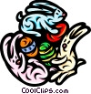 Vector Clipart image  of a Easter bunnies with Easter