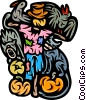 Scarecrow with crows, pumpkins and black cats Vector Clip Art graphic