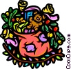 Vector Clipart graphic  of a Sack of toys in a colorful