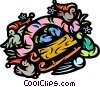 Toboggan with birds Vector Clip Art picture