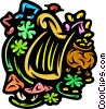 Harp with shamrocks and pot of gold Vector Clipart graphic