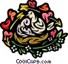 Love Birds with hearts and arrows Vector Clip Art image