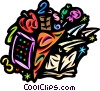 Abacus, apple, paper airplane and books Vector Clip Art graphic