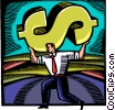 strong Businessman with dollar sign Vector Clipart graphic