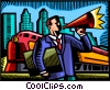 man making announcements with train in background Vector Clip Art picture