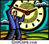 Concepts of time Businessman with clock Vector Clip Art picture