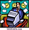 Vector Clip Art image  of a Doing Paperwork