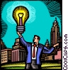 Businessman with idea light bulb Vector Clip Art picture