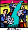 Businessmen with gears Vector Clipart graphic