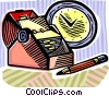 Vector Clipart image  of a Rolodex with clock and pencil