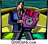 Businessman with diskette Vector Clipart image