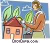 Woman putting money into her house Vector Clipart picture