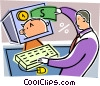 Businessman doing banking online Vector Clipart picture