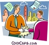 Businessmen shaking hands over contracts Vector Clipart illustration