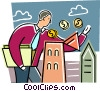 Businessman putting money into building Vector Clip Art graphic