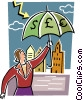 Businesswoman with currency umbrella Vector Clipart graphic