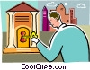 Financial Concepts Man unlocking vault Vector Clipart illustration