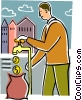 Businessman pouring money into bag Vector Clip Art picture