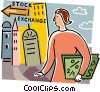 Woman bringing portfolio to stock market Vector Clipart picture
