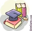 Vector Clipart image  of a Diplomas and Caps Mortar Boards