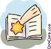 School book and shooting star Vector Clipart picture