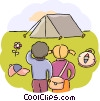 Campers with their tent and compass Vector Clipart illustration