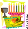 Menorah with wine glass, corn and fruit Vector Clipart illustration