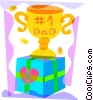 Father's Day trophy and present Vector Clip Art picture