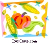 Pumpkin with corn and squash Vector Clipart picture