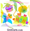 Mother's Day gift and flowers Vector Clipart image