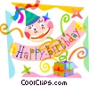 Vector Clip Art graphic  of a Birthday banner with gifts