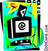Vector Clip Art graphic  of a Computer with e-mail