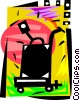 Vector Clipart graphic  of a Luggage cart and suitcase