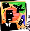 Man with cell phone, luggage and airplane Vector Clipart picture