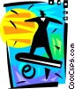Vector Clip Art graphic  of a Businesswoman surfing the
