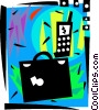 Vector Clip Art picture  of a Briefcase with cell phone